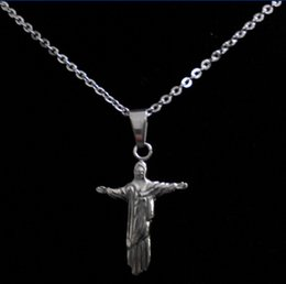 Wholesale Chain Link Images - Hot Promotion 316L Stainless Steel Mini Brasil Cristo Redentor Jesus Stand Image Pendant Necklace,Free Drop Shipping