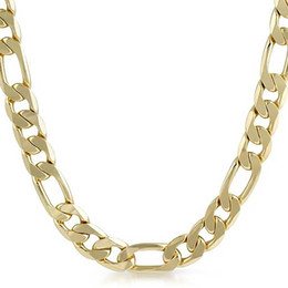 Wholesale Indian Cube - 18K Gold Plated Stainless Steel Flat Figaro Cube Link Chain Necklace For Women Men Jewelry 24Inch Y6008