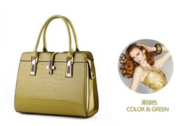 Wholesale Bright Blue Handbag - Hot 10 color high-grade bright patent leather crocodile pattern shoulder portable handbag Ms. European and American style atmosphere package