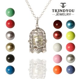 Wholesale Bird Stainless Steel - TRENDYOU Wholesale Bead Chain Pendant For Women New Sterling Silver Bird Cage with Colorful Harmony Ball Chime Pendant
