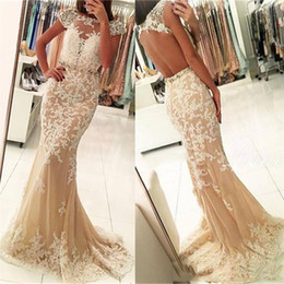 Wholesale Empire Dresses For Sale - Champagne Mermaid Evening Gowns with Lace Appliques Crystal Sheer Jewel Neck Sheath Evening Wear Cap Sleeves Backless Prom Dresses For Sale