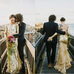 Wholesale Tull Wedding Dresses Sleeves - Gold Sequins Musings Wedding Dresses Jewel Long Sleeve Column Bridal Gown with Tiered Champaign Tull Train Scoop Backless Wedding Dress