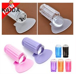 Wholesale Wholesale Clear Finger Nail Polish - New Finger Angel New 2.8cm Clear Jelly Nail Art Stamping Stamper Scraper Kit DIY Polish Print Template Manicure Tools