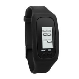 Wholesale Digital Watch Blue Lcd - NEWLY 10 Color Fashion Design Multifunction Digital LCD Pedometer Fitness Run Step Walking Distance Calorie Counter Watch Bracelet
