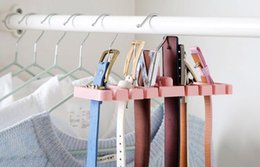 Wholesale Plastic Bras - New Storage Rack Tie Belt Organizer Space Saver Rotating Scarf Ties Hanger Holder Hook Closet Organization Tank Tops Bra Belts Bag