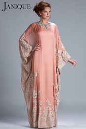Wholesale Embroidered Kaftan Dress - Elegant Long Sleeve abaya in dubai kaftan Muslim Evening Dresses arabic Evening Gowns robe de soiree Long abendkleider 2018