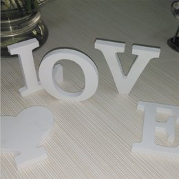 Wholesale White Vinyl Letters - Wholesale- 2017 new wooden White English letters combination diy wedding love confession 3d sticker home decor Modern liberal green library