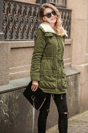 Wholesale Goose Down Parka Women - 2017 Army Green Winter Parka Hooded Coat Warm Women's Jackets Female Casual Wadded Quilt Snow Outwear Warm Overcoat In Stock FS1915
