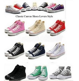 Wholesale Canvas Fabric Colors Wholesale - 2017 NEW size35-45 New Unisex Low-Top & High-Top Adult Women's Men's Canvas Shoes 14 colors Laced Up Casual Shoes Sneaker shoes retail
