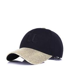 Wholesale Wholesale Women Bling Caps - Fashion 4 Colors Brand Design Bling Baseball Cap Hats Men Women Snapback Flash Diamond Glowing Boutique Embroidery U Cotton Cap 140PCS