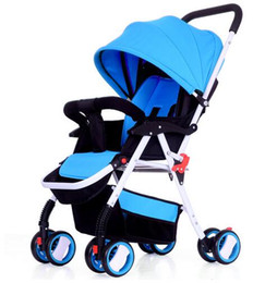 Wholesale Baby Carriage Wheels - Wholesale- New Fashion Baby Strollers Brands portable folding Baby Carriage sit and lie Pram for Newborn infant Summer   winter Four Wheels