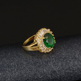 Wholesale Solitaire Emerald Rings -  Sparkling Emerald Ring 18k Yellow Gold Filled Bridal Womens Ring Accessories Size 7,8,9