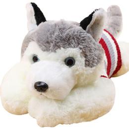 Wholesale Large Size Plush Toy - 1pcs size 40 cm Cartoon gray sweater husky dog plush toy child cloth doll Large pillow cushion child Christmas birthday gift