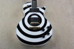 Wholesale Electric Guitar Black White - Hot Sale Custom Shop High Quality Zakk Wylde Bullseye white & black 6 Strings Electric Guitar EMG pick-up Free shipping