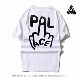 Wholesale Fashion Finger Sleeve - 2017 Hip-hop short sleeved cotton counter code funny T Shirt PALACE Print vertical finger summer men's T-shirt Tee Camisetas Hombre