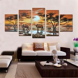 Famosas pinturas al óleo del paisaje online-NUEVO 2016 hecho a mano 5 unids / set Pinturas pintura al óleo famosa alta calidad artistas modernos pintura paisaje africano