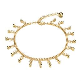 Canada Classique 18k or jaune plaqué Bracelet de cheville mignonnes cloches Dangle Bracelet chaîne Sexy femmes Sandal plage bijoux, réglable Offre