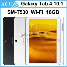 Wholesale Android Tablets 16gb - Refurbished Original Samsung Galaxy Tab 4 10.1 SM-T530 T530 10.1 inch Wifi 16GB ROM Quad Core 3.0MP Camera Android Tablet PC DHL 5pcs