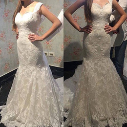 Wholesale Tulle Draped Cover Up - 2017 Plus Sizes Full Lace Wedding Dresses Juliet Romantic Court Train Lace up Mermaid Bridal Gowns
