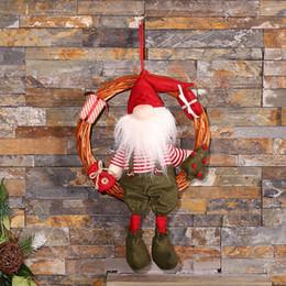 Wholesale Ring Christmas Garland - 2017 Natal Wooden Christmas Wreath Christmas Scavenger Doll Christmas Tree Ornament Garland Rattan Wreath Ring Hanging Door Ornament Pendant
