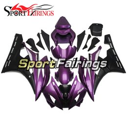 Carenature d'iniezione viola nere nuove per Yamaha YZF600 YZF R6 06 07 2006-2007 ABS Kit completo carenatura moto Carenatura Carenatura cheap yamaha yzf fairing kit purple da yamaha yzf kit di vernice viola fornitori