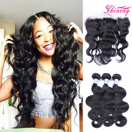 Wholesale Pcs Parts - 9A 13*4 Lace Frontal Closure With Bundles 3 Pcs Brazilian Virgin Human Hair Bundles With Frontal Free Middle Part Body Wave With Frontals