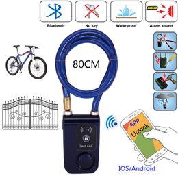 Wholesale Window Locks Alarms - 80cm Bluetooth Lock Wire Rope Smart Lock Anti Theft Alarm Keyless Phone APP Control Waterproof 110dB Alarm Bicycle Lock