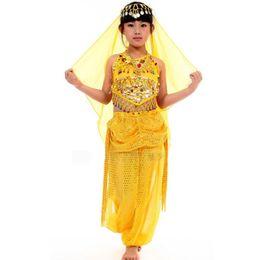 Wholesale Girls Belly Dance Pants - Children Belly Dance Skirt Costume Set Indian Dance Costume Clothes Belly Dance Costume Girl 2pcs 3pcs Clothes + Pants