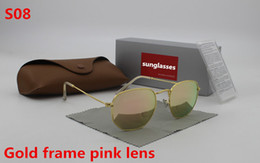 Wholesale Protect Flash - 1pcs New high quality fashion designer men's brand 3548 sunglasses golden frame Pink flash glass 51 mm lens UV400 protect brown case
