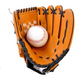 "Wholesale Brown Baseball Gloves - Thickening Pitcher Batting Gloves PVC Artificial Leather Baseball Gloves Lightweight Softball Gloves Adult 10.5"" 12.5"" Left Hand Pale Brown"