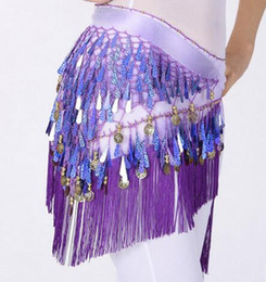 Wholesale Womens Purple Scarves - New Womens Belly Dance Costume Fashion Hot Stage Wear 9 Colors Sequins Gradual Change Triangle Scarf Hip Skirt Scarf Wrap Belt