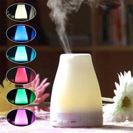 Светодиодный световой сигнал онлайн-2018 100 мл эфирное масло диффузор портативные увлажнители аромата LED ночник ультразвуковой прохладный туман свежий воздух спа ароматерапия