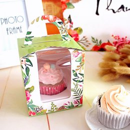 Wholesale Wholesale Single Muffin Box - 10pcs Package Cupcake Wrapper Window Glass Cake Box Handheld Single Cupcake Boxes Muffin Cake Box for Wedding and Party Decoration