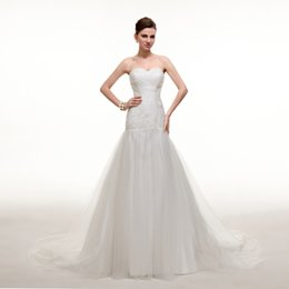 Wholesale Wedding Dress Lace Feathers Satin - Charming Off White Wedding Dresses Simple Tulle Beaded Flower Cheap Mermaid Sweetheart Sleeveless Country Bridal Dresses Ball Gowns
