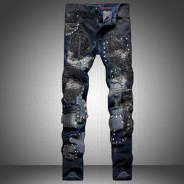 Wholesale Jeans Vaqueros Hombre - Designer ripped biker jeans for men hip hop harem pants fashion blue zipper trousers brand Colorful vaqueros hombre cotton denim pants