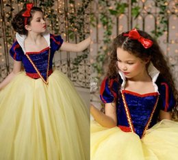 Wholesale Classy Wedding Dresses Sleeves - Classy Blue And Yellow Snow White Princess Flower Girl Dresses Capped Sleeves With High Neck Puffy Girl Party Dresses Floor length