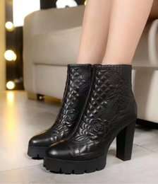 Wholesale Sexy Platform Ankle Boots - Luxury Brand Womens Ankle Boot Platform Winter Embroidery Leather Booties Sexy High Heels Ladies Shoes Free Shipping 35-40