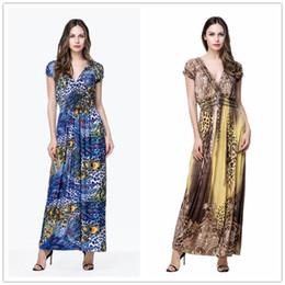 Wholesale Maxi Long Dress Leopard Print - Women Short Sleeves Leopard Print Travel Vacation Maxi Long Skirt Dress Plus Size