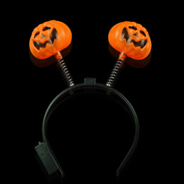 Luci della testa della zucca di halloween online-Halloween Party Dance Puntelli Headdress Head Hoop Fibbia Light Demon LED Flash Pumpkin Barrette Skully Hair Sticks