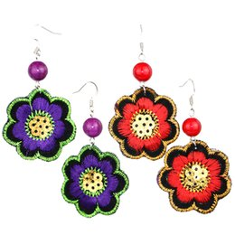 Wholesale Tin Metal Chinese - Newly fashion handwork Chinese nationality National jewelry red pearl red and purple fabrics cloth metal charm embroidery flower earrings