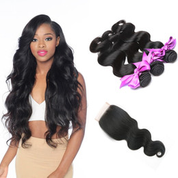 Wholesale Malaysian Mixed Pieces - Brazilian Body Wave 3 Bundles With 4x4 Lace Closure Unprocessed Virgin Human Hair Weaves For Woman 10A Peruvian Indian Malaysian Remy Hair
