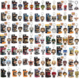 Wholesale Pop Figure Funko - 54 Designs Funko POP Action Figurines Toys Keychain Avengers Harry Potter Wonder Woman PVC Cartoon Action Figures Keychain Kids Gifts LA527