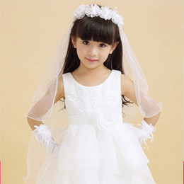 Wholesale Lace Hair Flowers - 2017 Long Veils For Children Girls' Head Pieces Two-layer Pencil Edge White Pink Hair Accessories For Flower Girls Lace Schleier
