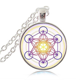 Wholesale Circle Choker Necklace - Metatron Cube Pendant Necklace Sacred Geometry Flower of Life Jewelry Chakra Spiritual Occult Necklace Women Men Magic Hexagram Choker