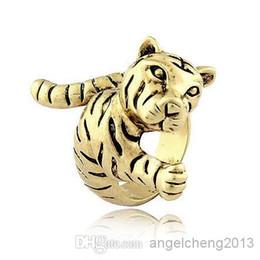Wholesale Tiger Ring Band - Retro Metal Texture Tiger Rings Inner diameter of 1.9cm J179