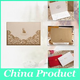 Wholesale Red Lace Wedding Invitations - Customizable Hollow Lace Wedding Invitation Cards Laser Cut Wedding Invitations Party Card Supply Free Printing wedding supplies