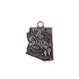 Canada Nouveau Pas cher Arizona Amérique État Carte Charme Antique Argent Plaqué Voyager Pendentif Bijoux Offre