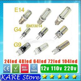 Wholesale G4 24 Led Warm White - LED E14 G4 G9 SMD 3014 3W 6W 8W 9W 12W AC 110V 220V DC12V LED 24   48   64   72   104 leds lighting lamp for Crystal Chandelier droplight