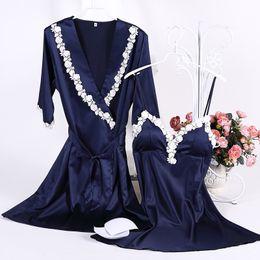 Wholesale Sexy Night Robe Set - Wholesale- 1957 Women Nighties Satin Silk Night Gown Robe Sets Lace Bathrobe Sexy Lingerie Robe Nightgowns Sleepwear