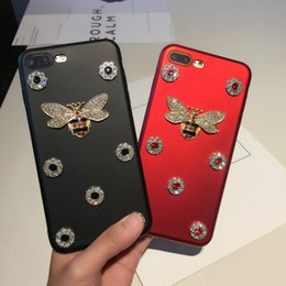 Wholesale Apple Bees - Fashion Cute Bee Phone case For Apple iphone 6 7plus Case Luxury Glitter Rhinestone TPU Back Cover For Samsung S8 PLUS S7 edge